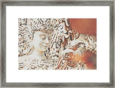Exquisite Design Detail Of A Meditative Deity-like Statue Carved Inside The White Temple In Thailand Framed Print