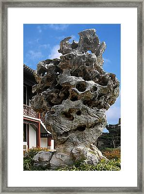 Exquisite Jade Rock - Yu Garden - Shanghai Framed Print by Christine Till