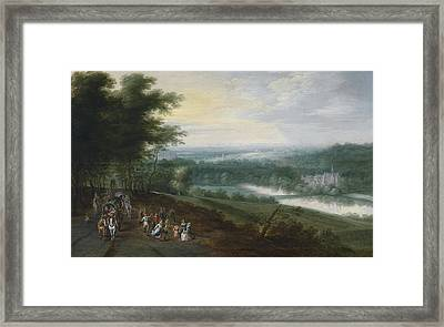 Extensive River Landscape With Travelers And Dancing Peasants On A Path Framed Print by Jan Brueghel the Younger