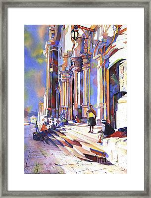 Exterior Of Cathedral In The Colonial Mining Town Of Potosi In The Bolivian Altiplano Potosi Boliv Framed Print by Ryan Fox