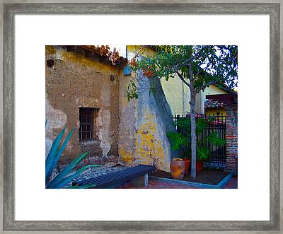 Exterior Wall Of Serra Chapel Mission San Juan Capistrano California Framed Print by Karon Melillo DeVega