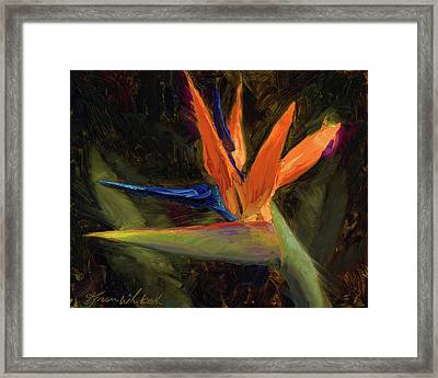 Framed Print featuring the painting Extravagance - Tropical Bird Of Paradise Flower by Karen Whitworth