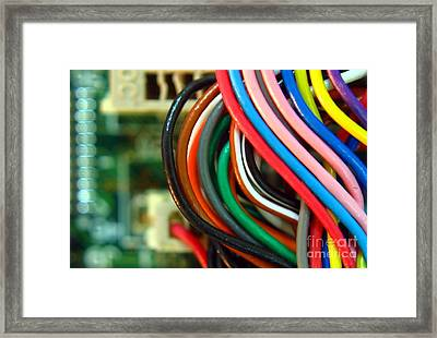 Extreme Closeup Of Motherboard And Cables Framed Print by Yali Shi
