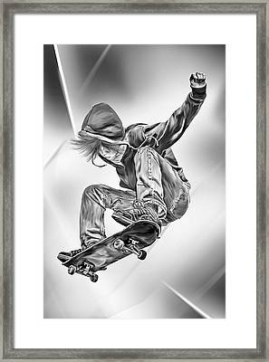 Extreme Skateboard Jump Framed Print by Julie L Hoddinott