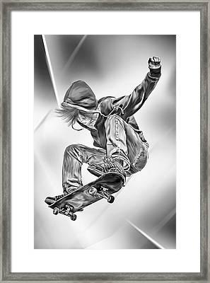 Extreme Skateboard Jump Framed Print
