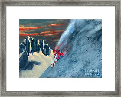 Extreme Ski Painting  Framed Print by Sassan Filsoof