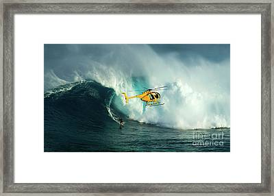 Extreme Surfing Hawaii 6 Framed Print by Bob Christopher