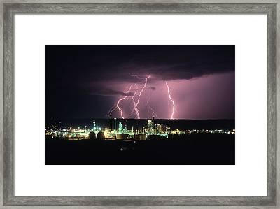 Exxon Lightning Framed Print