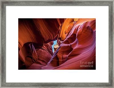 Eye Of The Canyon - The Amazing Antelope Slot Canyons In Arizona, Usa. Framed Print