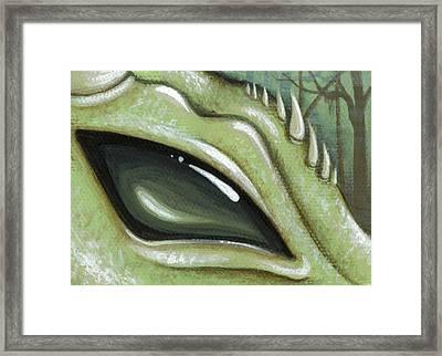 Eye Of The Moss Dragon Framed Print by Elaina  Wagner