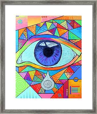 Eye With Silver Tear Framed Print by Jeremy Aiyadurai