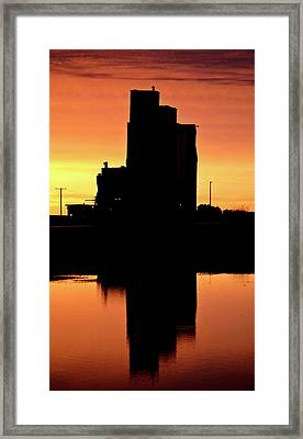 Eyebrow Gain Elevator Reflected Off Water After Sunset Framed Print by Mark Duffy