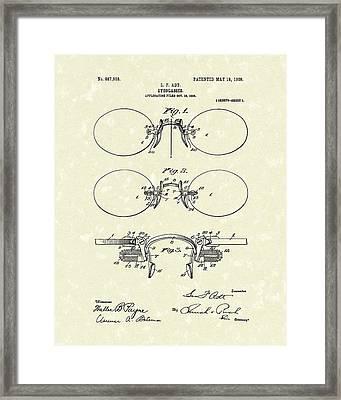 Eyeglasses 1908 Patent Art Framed Print by Prior Art Design