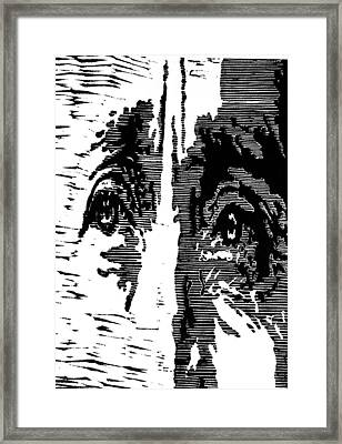 Eyes No. 2 --  Hand-pulled Linoleum Cut Framed Print by Lynn Evenson