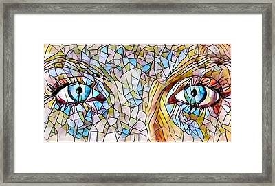 Eyes Of A Goddess - Stained Glass Framed Print