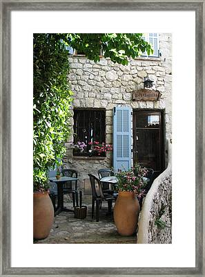 Eze Cobblestone Patio Framed Print by Carla Parris