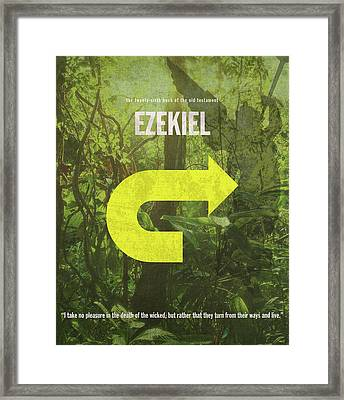 Ezekiel Books Of The Bible Series Old Testament Minimal Poster Art Number 26 Framed Print by Design Turnpike