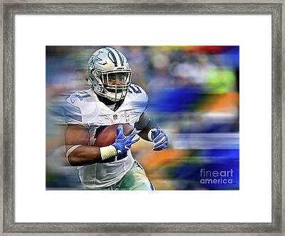 Ezekiel Elliot, Number 21, Running Back, Dallas Cowboys Framed Print by Thomas Pollart
