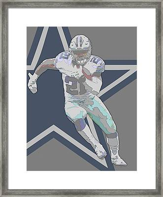 Ezekiel Elliott Dallas Cowboys Contour Art Framed Print by Joe Hamilton