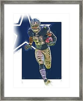 Ezekiel Elliott Dallas Cowboys Oil Art Series 1 Framed Print by Joe Hamilton
