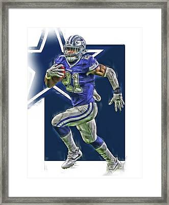 Ezekiel Elliott Dallas Cowboys Oil Art Series 2 Framed Print by Joe Hamilton