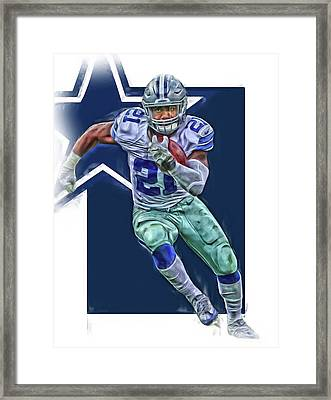 Ezekiel Elliott Dallas Cowboys Oil Art Series 3 Framed Print by Joe Hamilton