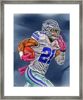 Ezekiel Elliott Dallas Cowboys Oil Painting 1 Framed Print by Joe Hamilton