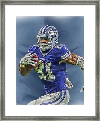 Ezekiel Elliott Dallas Cowboys Oil Painting 2 Framed Print