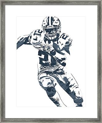 Ezekiel Elliott Dallas Cowboys Pixel Art 3 Framed Print by Joe Hamilton