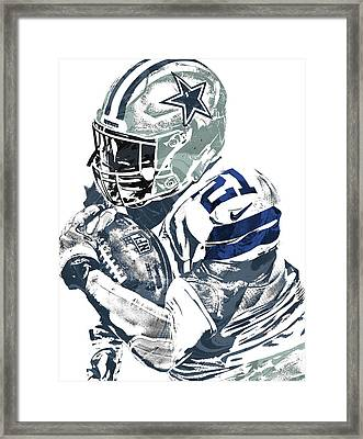 Ezekiel Elliott Dallas Cowboys Pixel Art 5 Framed Print by Joe Hamilton