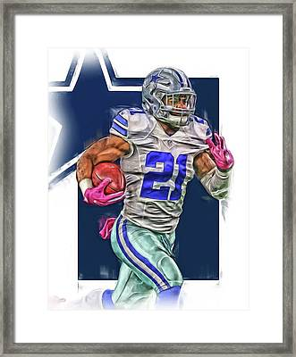 Ezekiel Elliotte Dallas Cowboys Oil Art Framed Print