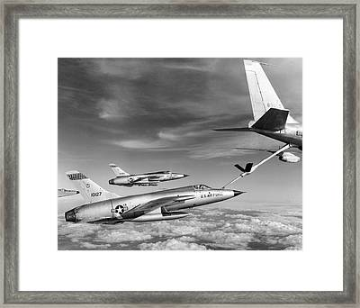 F-105s Refueling In The Air Framed Print by Underwood Archives
