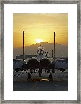 F-15e At Sunrise Framed Print by Tim Grams