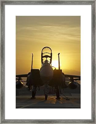 F-15e Sunrise Portrait Framed Print by Tim Grams