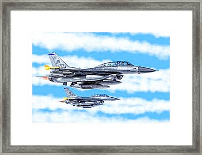 F-16 Fighting Falcons In Flight Framed Print
