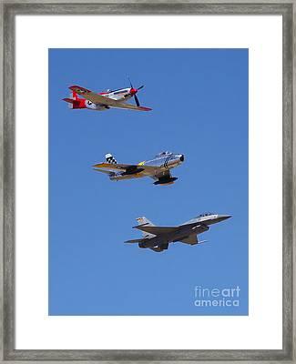 F-16 P-51d F-86 Heritage Flight- Flyby Framed Print