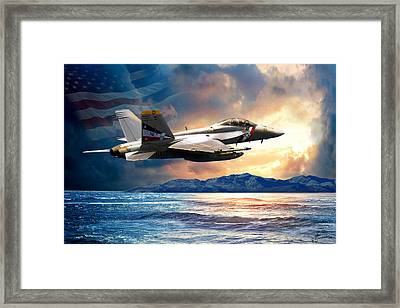 Bounty Hunter Fighter Jet, America The Beautiful Framed Print by Regina Femrite