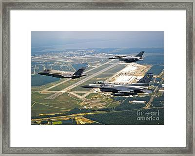 F-35 Lightning II Aircraft In Flight Framed Print by Stocktrek Images