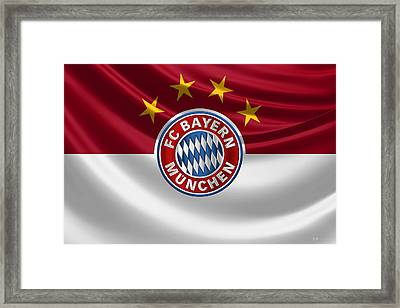 F C Bayern Munich - 3 D Badge Over Flag Framed Print