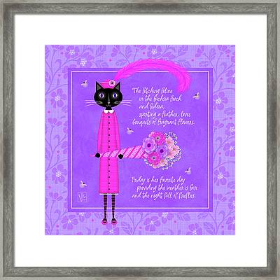 F Is For Fetching Feline And Flowers Framed Print
