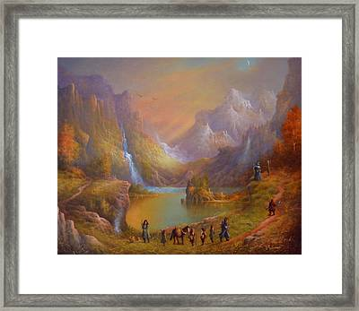 The Fellowship Breaking Camp Framed Print by Joe Gilronan