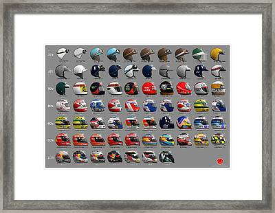 F1 World Champions' Helmets Framed Print by Last Corner