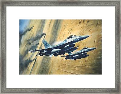 'f16 Desert Storm' Framed Print by Colin Parker