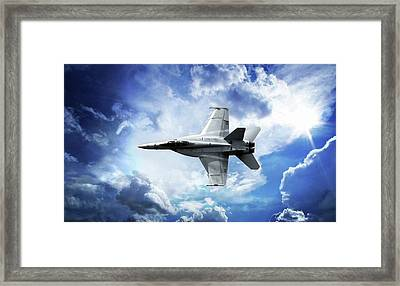 Framed Print featuring the photograph F18 Fighter Jet by Aaron Berg