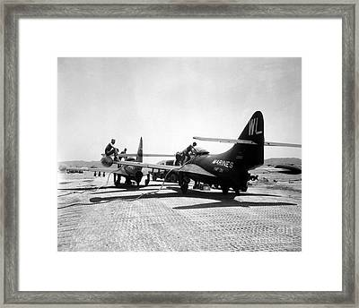 F9f Panther Jets Being Refueled Framed Print by Stocktrek Images