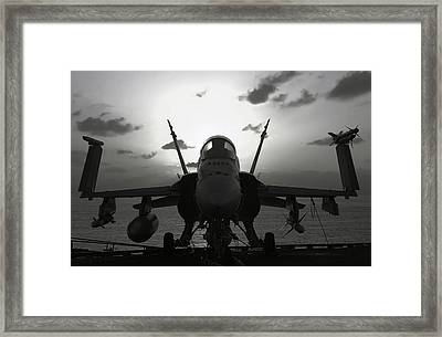 F A-18 Super Hornet On Carrier Framed Print by Daniel Hagerman
