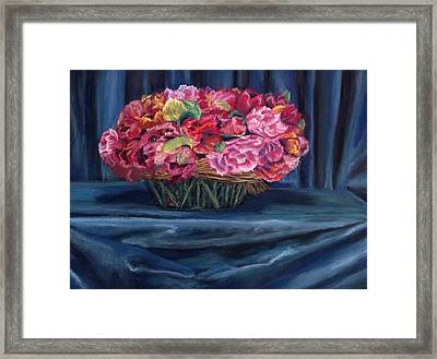 Fabric And Flowers Framed Print by Sharon E Allen