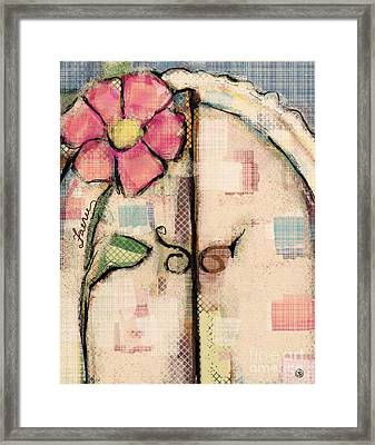 Framed Print featuring the mixed media Fabric Fairy Door by Carrie Joy Byrnes