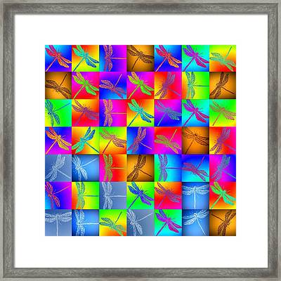 Fabulous Dragonfly Patchwork  Framed Print by Cathy Jacobs