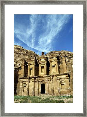 Facade Of Ad Deir An Ancient Rock-cut Monastery In Petra Framed Print by Sami Sarkis